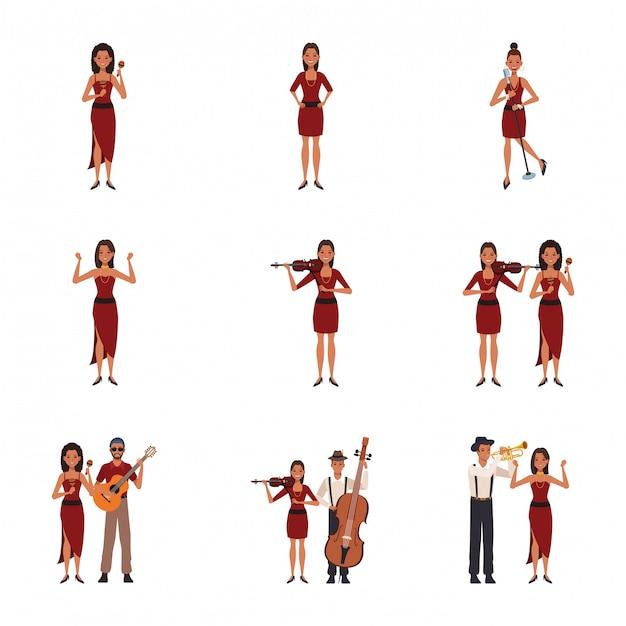 Set di musicisti dei cartoni animati donne e uomini con strumenti Vettore Premium