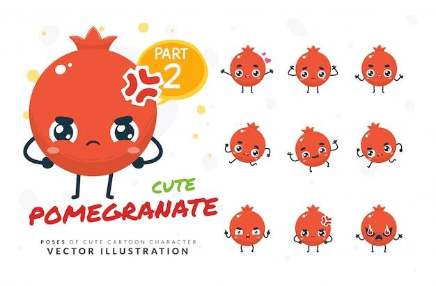 Set di pose di cartone animato di melograno. Vettore Premium