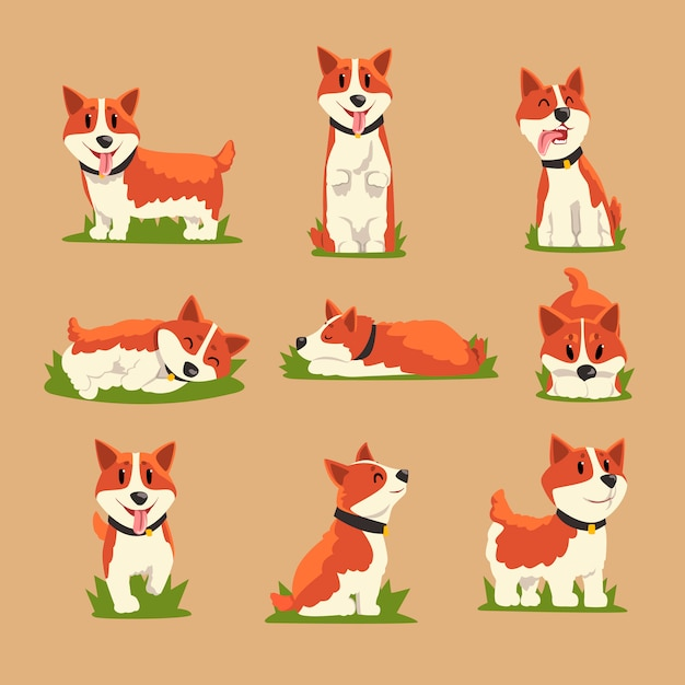 Set di cani corgi dai capelli rossi del fumetto Vettore Premium