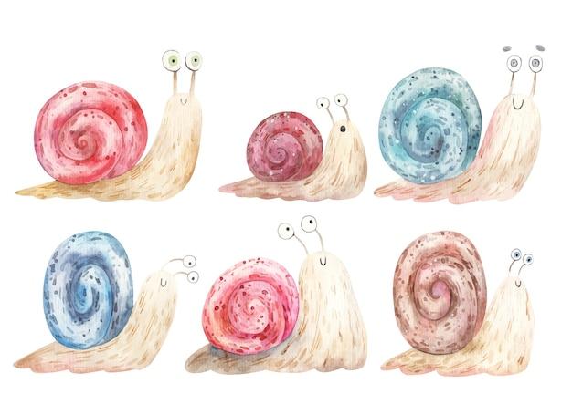 Set di lumache di cartone animato con grandi occhi e conchiglie colorate, illustrazione. Vettore Premium