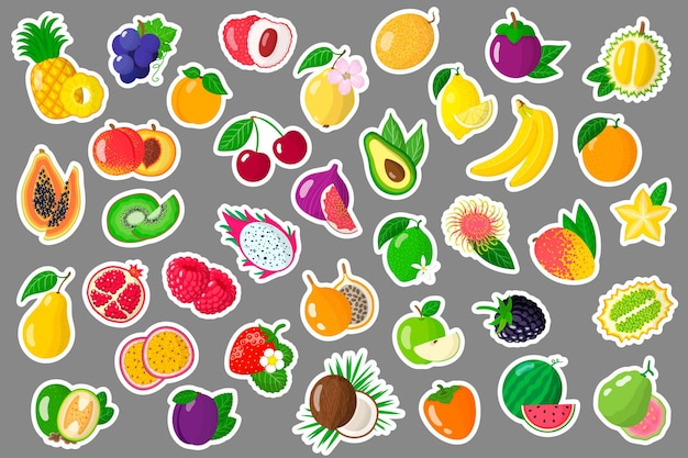 Set di adesivi dei cartoni animati con frutti esotici estivi e bacche. Vettore Premium