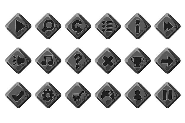 Set di pulsanti di pietra del fumetto per il menu di gioco. grigio isolato per l'interfaccia. Vettore Premium