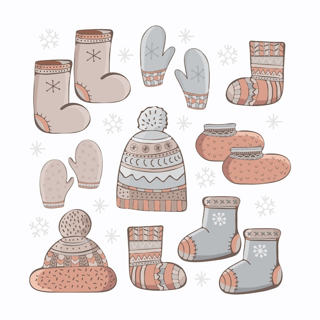 Set di accessori invernali del fumetto. abbigliamento stagionale di disegno a mano. Vettore Premium