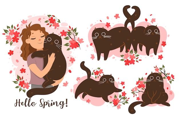 Set di gatti in atmosfera primaverile. grafica vettoriale Vettore Premium