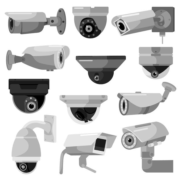 Impostare la telecamera cctv su sfondo bianco. sorveglianza delle apparecchiature per protezione, sicurezza e sorveglianza, illustrazione vettoriale. videocamera di sicurezza in stile design piatto. Vettore Premium
