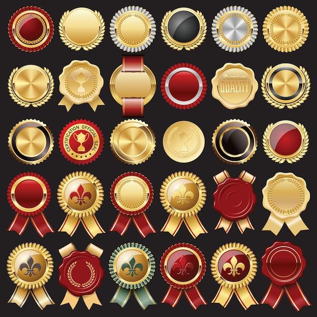 Set di sigillo di cera certificato e distintivi Vettore Premium