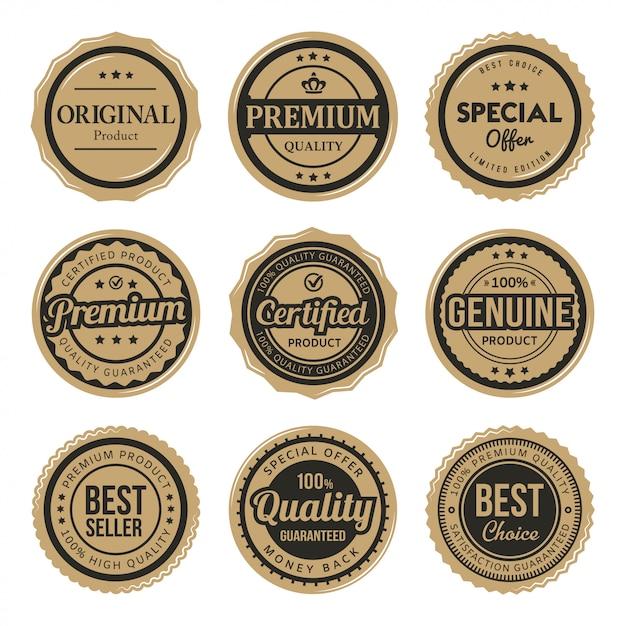 Set di etichette e distintivi vintage premium certificati Vettore Premium