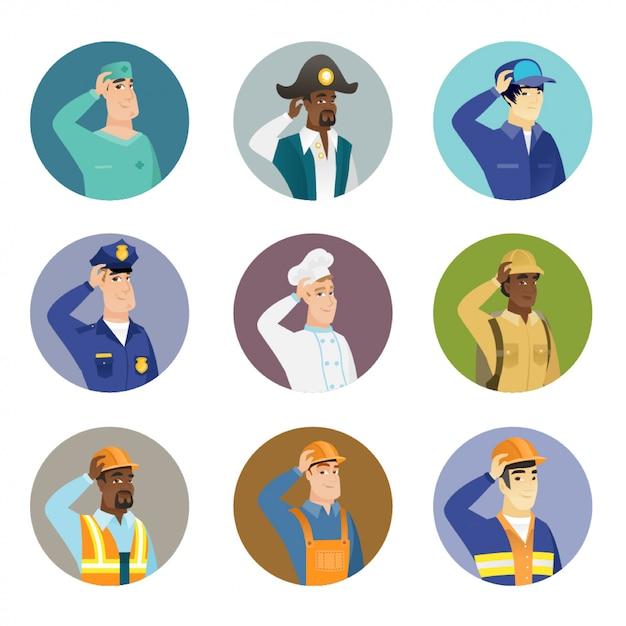 Insieme di personaggi di diverse professioni. Vettore Premium
