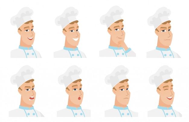 Set di caratteri di chef-fornello. Vettore Premium