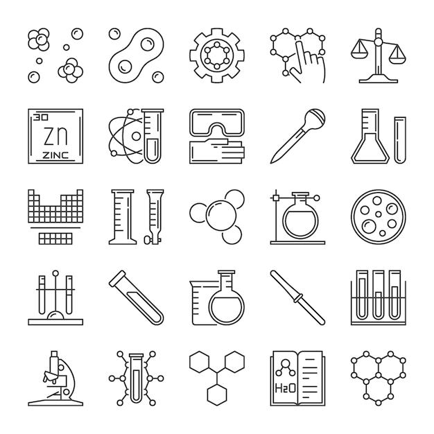 Set di icone di contorni chimici. segni di concetto di chimica Vettore Premium