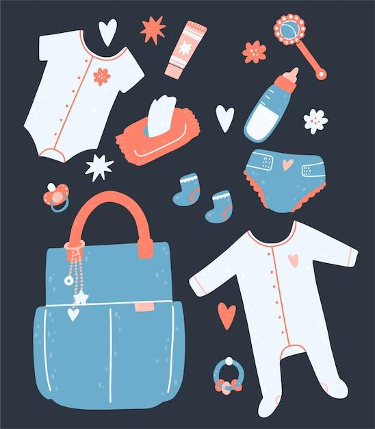 Impostare per un bambino con una borsa, tovaglioli, pannolini, sonagli, vestiti, una bottiglia, crema. Vettore Premium