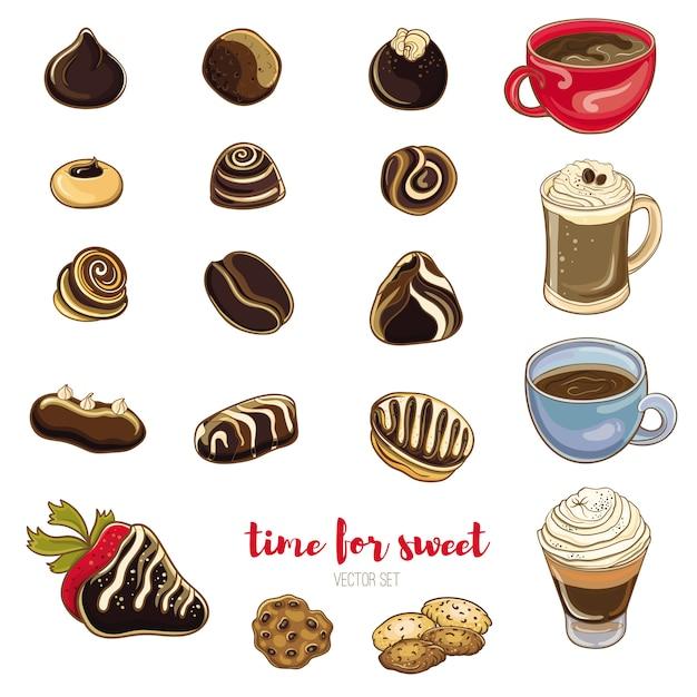 Set di caramelle al cioccolato, caffè e biscotti. illustrazione vettoriale luminoso di dolci. oggetti isolati. è ora di un caffè con le caramelle. Vettore Premium