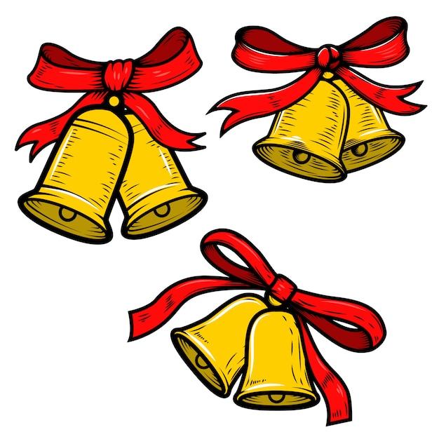 Insieme delle illustrazioni delle campane di natale su fondo bianco. elementi per poster, carta, banner. illustrazione Vettore Premium