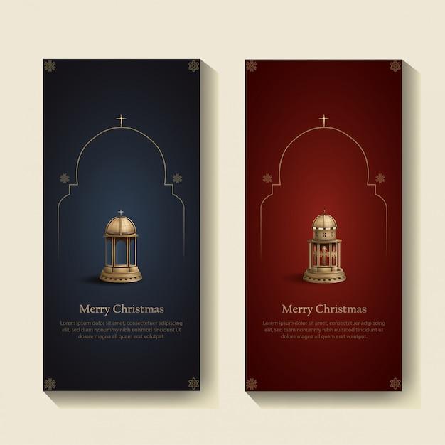 Set di modello di disegno di cartolina di natale con due lanterne della chiesa d'oro Vettore Premium