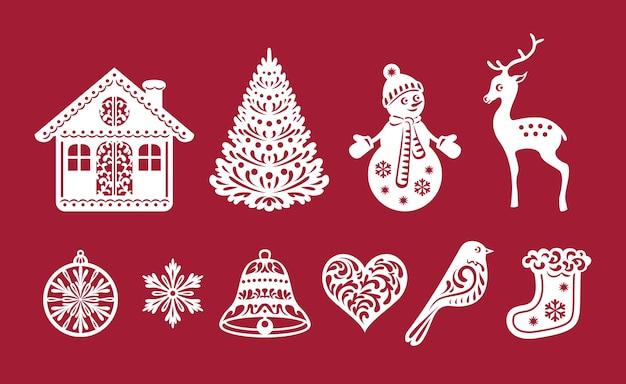 Set di decorazioni natalizie, modelli di taglio laser. Vettore Premium