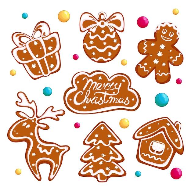 Set di biscotti di panpepato di natale, biscotti di pan di zenzero e dolci rotondi. Vettore Premium