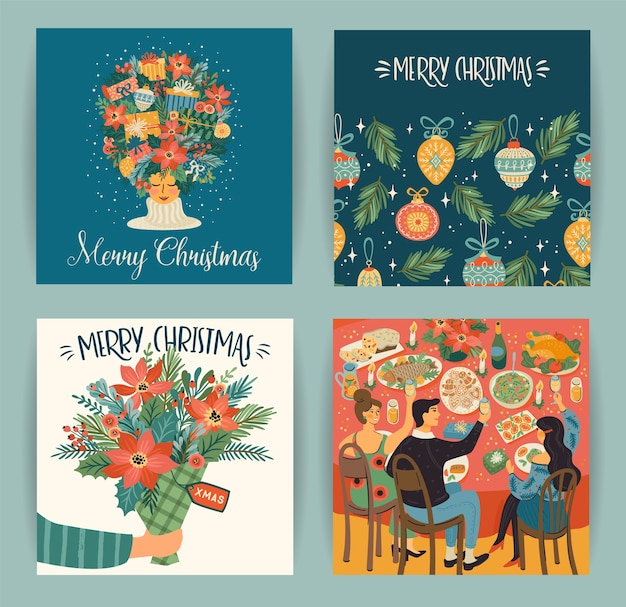Set di illustrazioni di natale e felice anno nuovo in stile retrò alla moda Vettore Premium