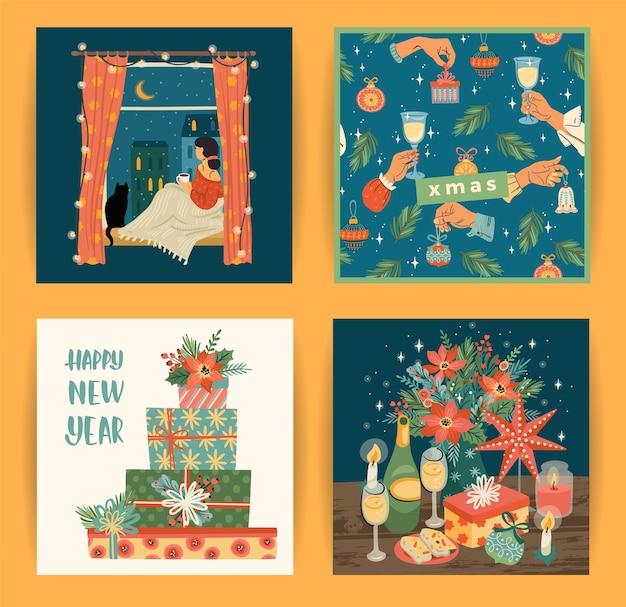 Set di illustrazioni di natale e felice anno nuovo Vettore Premium