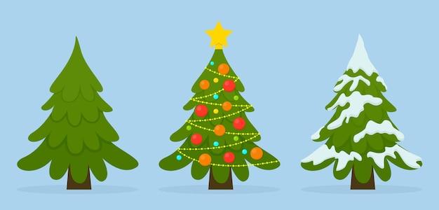 Insieme di alberi di natale in diverse situazioni. palline colorate, luci ghirlande, neve. Vettore Premium