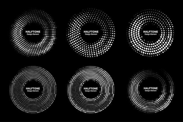 Set di raccolta circle frames halftone dots logo Vettore Premium
