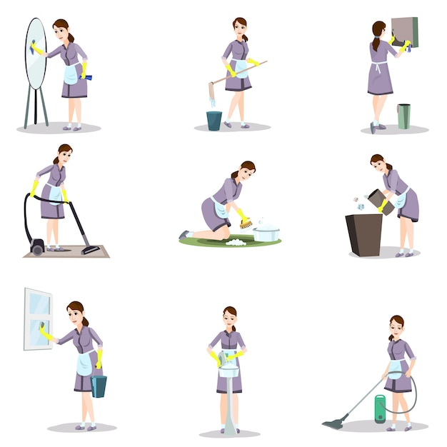 Set di donna delle pulizie in diverse pose e situazioni domestiche Vettore Premium