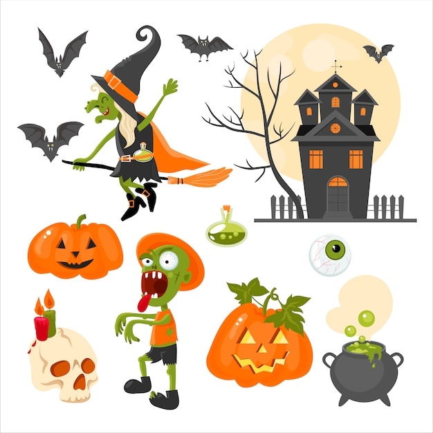 Una serie di clipart sul tema della festa di halloween. luminosa. design piatto Vettore Premium