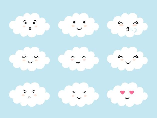 Set di emoji a forma di nuvola con umore diverso. emoticon di nuvole kawaii ed espressioni di facce. Vettore Premium