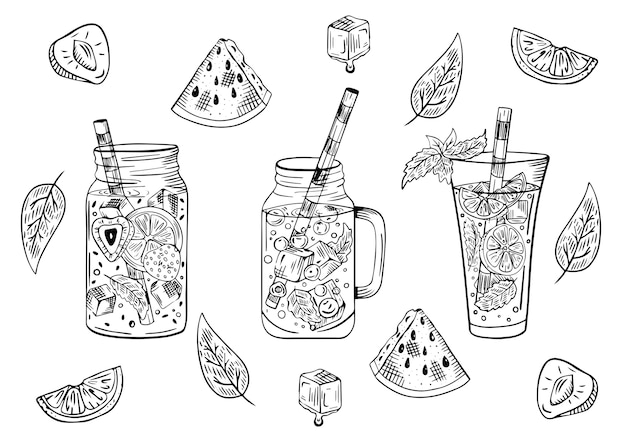 Set di cocktail con frutta Vettore Premium