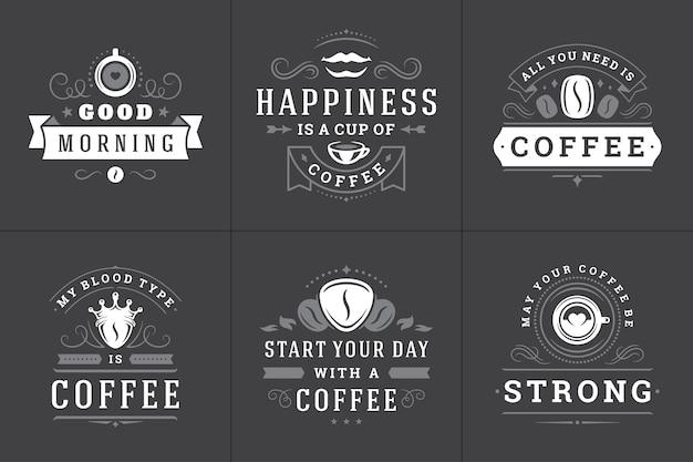Set di loghi di frasi ispiratrici di caffè Vettore Premium