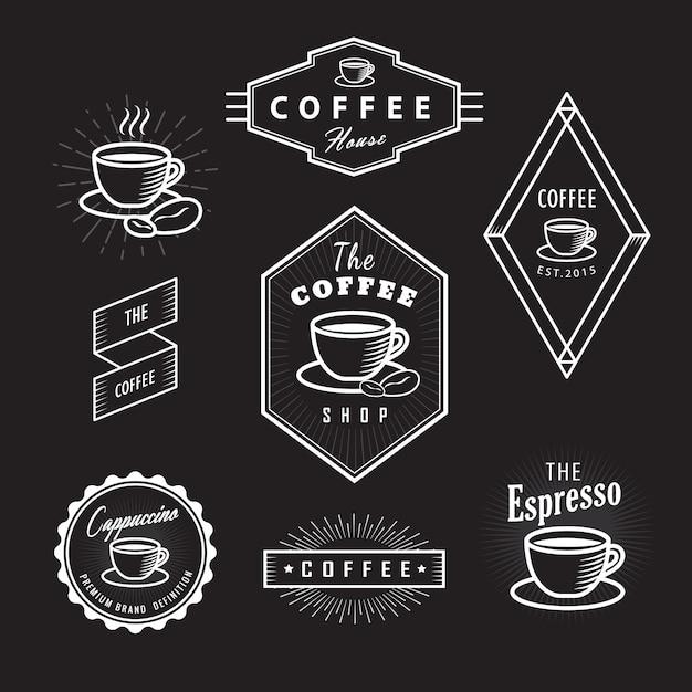 Impostare etichette caffè loghi vintage lavagna modello retrò Vettore Premium