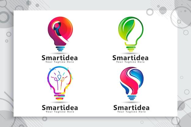 Impostare la raccolta del logo idea intelligente verde energia lampadina Vettore Premium