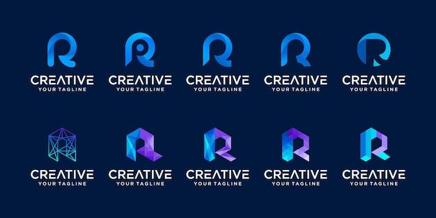 Set di raccolta lettera iniziale r rr logo modello. icone per il business della moda, sport, automotive, tecnologia digitale. Vettore Premium