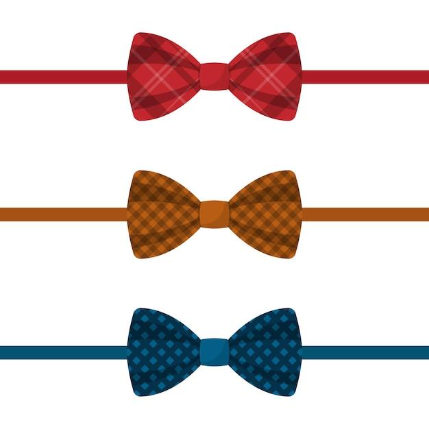 Set di cravatte colorate illustrazione Vettore Premium