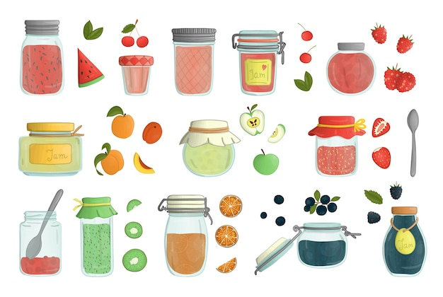 Set di barattoli di marmellata di vetro colorato stile acquerello isolati su sfondo bianco. colorata collezione di cibi conservati in vaso con frutta e bacche. Vettore Premium