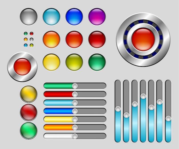 Set di pulsanti colorati e cursori Vettore Premium