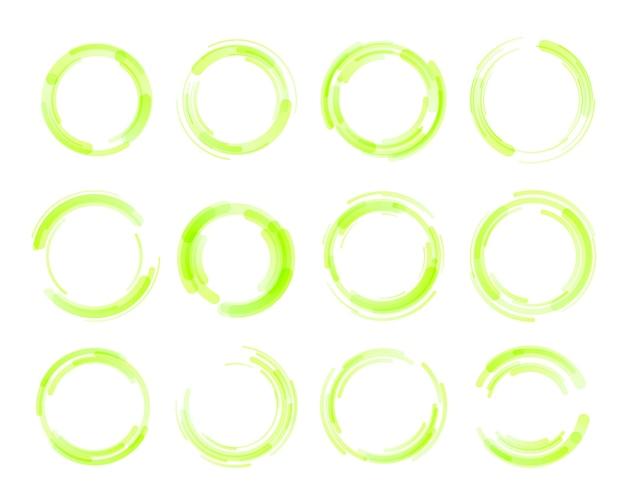 Set di cerchio colorato isolato. Vettore Premium
