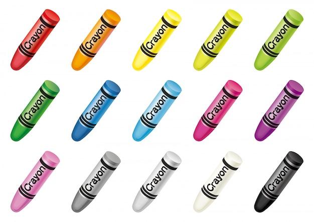 Set di pastelli colorati isolato. illustrazione vettoriale Vettore Premium