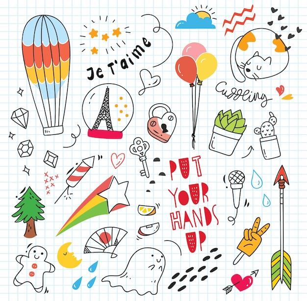 Insieme di doodle colorato su fondo di carta Vettore Premium