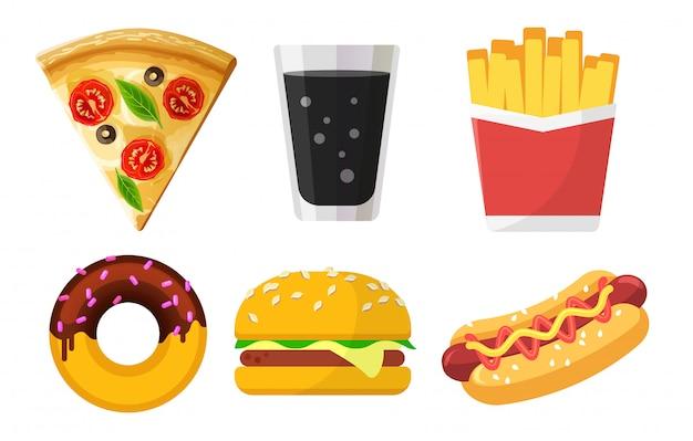 Set di icone colorate fast food per siti web e app, pizza, soda, patatine fritte, ciambella, hamburger, hot dog su bianco Vettore Premium