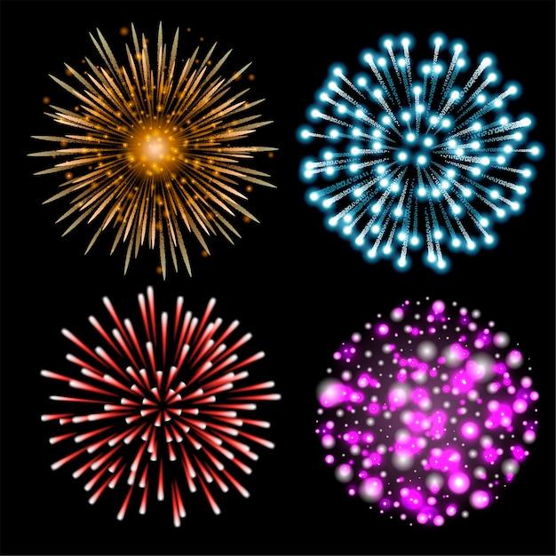 Set di fuochi d'artificio colorati. set di festosa saluto modellato che esplode in varie forme su sfondo nero. cartolina di natale decorazione luminosa, festa di capodanno, festival. illustrazione. Vettore Premium