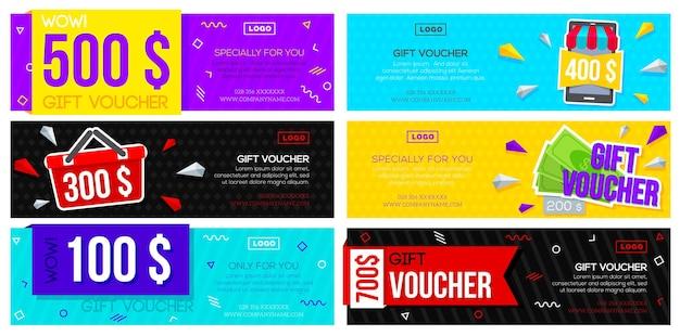 Set di buoni regalo colorati. modello di volantini sconto collezione con vari design. Vettore Premium
