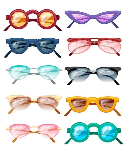 Set di bicchieri colorati illustrazione Vettore Premium