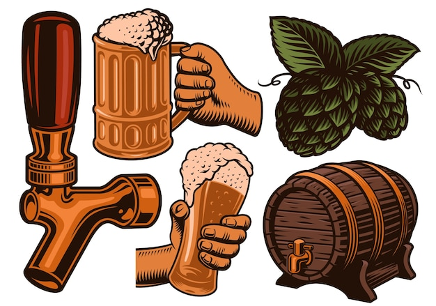Set di illustrazione colorata per il tema della birra Vettore Premium