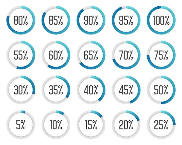 Set di grafici a torta colorati. raccolta di diagrammi percentuali blu Vettore Premium
