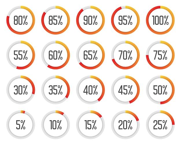 Set di grafici a torta colorati. raccolta di diagrammi percentuali arancioni e rossi Vettore Premium