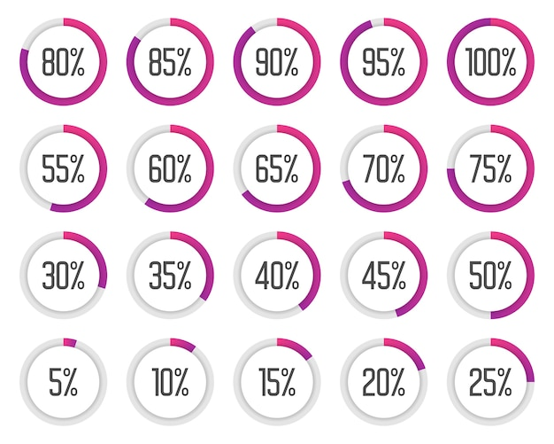 Set di grafici a torta colorati. raccolta di diagrammi percentuali viola Vettore Premium