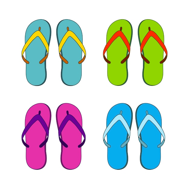 Set di pantofole colorate Vettore Premium