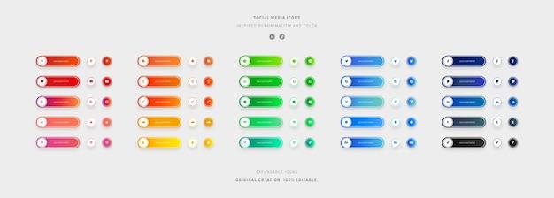 Set di icone colorate social media con sfumature. Vettore Premium