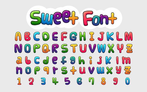 Set di numeri e alfabeti in stile fumetto Vettore Premium