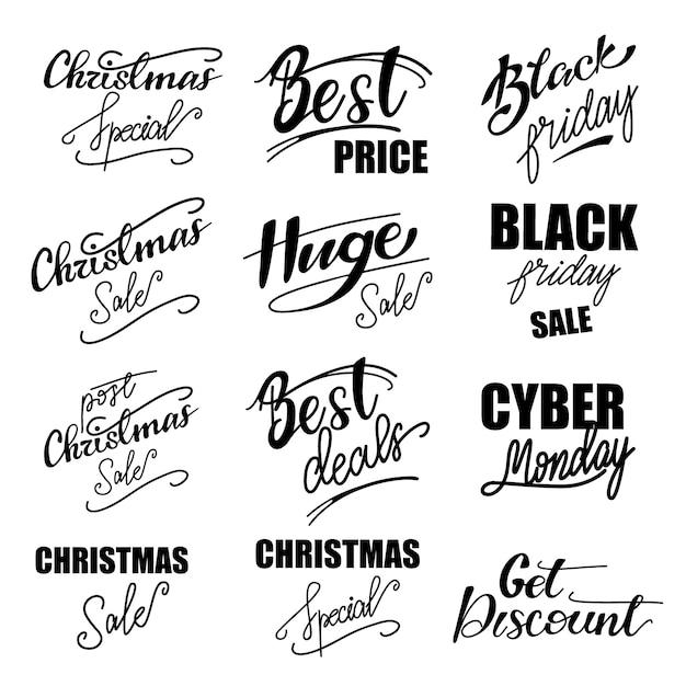 Set di frasi scritte commerciali. illustrazione vettoriale Vettore Premium